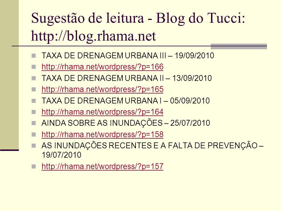 Sugestão de leitura - Blog do Tucci: http://blog.rhama.net TAXA DE DRENAGEM URBANA III – 19/09/2010 http://rhama.net/wordpress/?p=166 TAXA DE DRENAGEM
