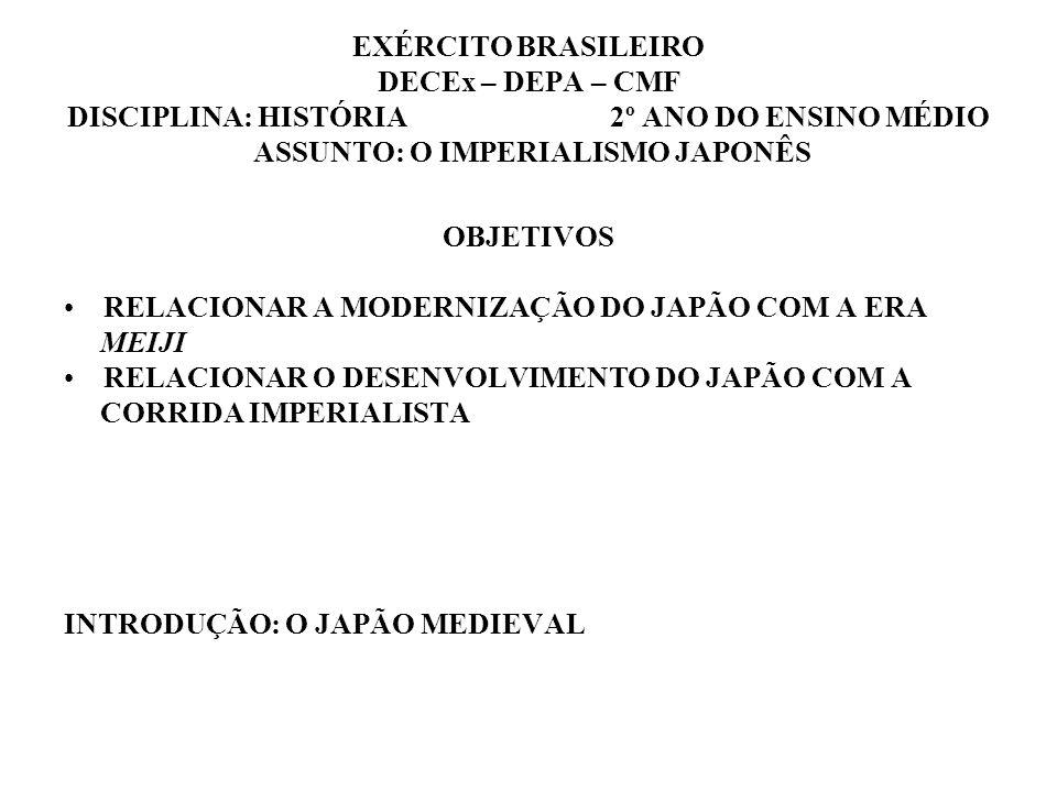EXÉRCITO BRASILEIRO DECEx – DEPA – CMF DISCIPLINA: HISTÓRIA 2º ANO DO ENSINO MÉDIO ASSUNTO: O IMPERIALISMO JAPONÊS OBJETIVOS RELACIONAR A MODERNIZAÇÃO