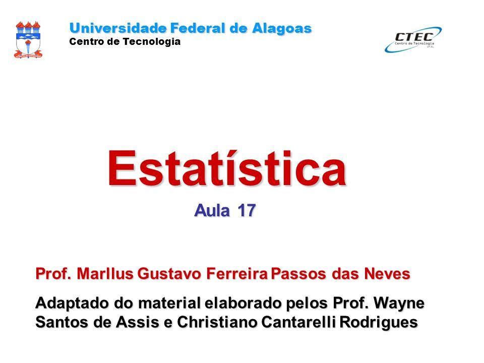 Estatística Aula 17 Universidade Federal de Alagoas Centro de Tecnologia Prof. Marllus Gustavo Ferreira Passos das Neves Adaptado do material elaborad