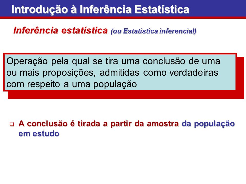 Introdução à Inferência Estatística Inferência estatística (ou Estatística inferencial) Operação pela qual se tira uma conclusão de uma ou mais propos