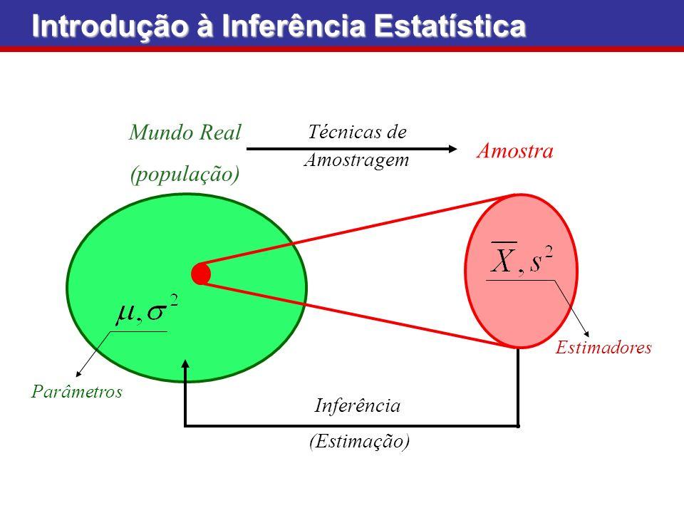 Mundo Real (população) Parâmetros (Estimação) Inferência Amostra Estimadores Técnicas de Amostragem Introdução à Inferência Estatística