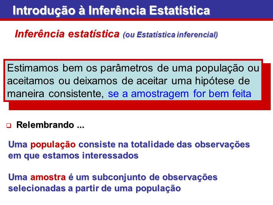 Introdução à Inferência Estatística Inferência estatística (ou Estatística inferencial) Estimamos bem os parâmetros de uma população ou aceitamos ou d