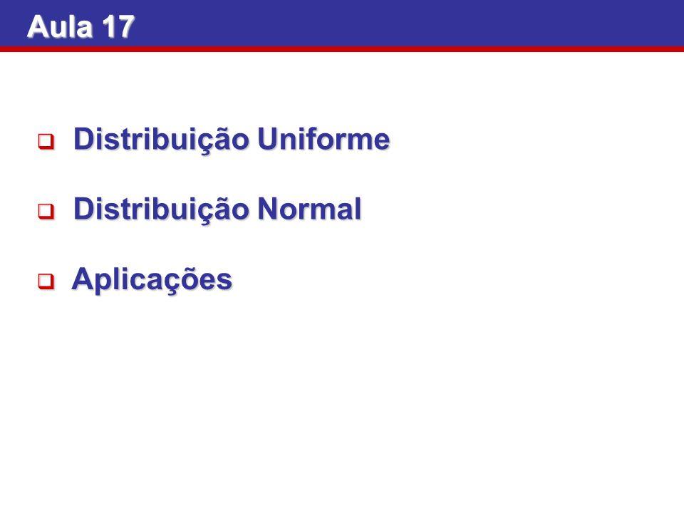 Aula 17 Distribuição Normal Distribuição Normal Aplicações Aplicações Distribuição Uniforme Distribuição Uniforme