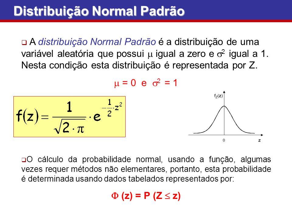 A distribuição Normal Padrão é a distribuição de uma variável aleatória que possui igual a zero e 2 igual a 1. Nesta condição esta distribuição é repr