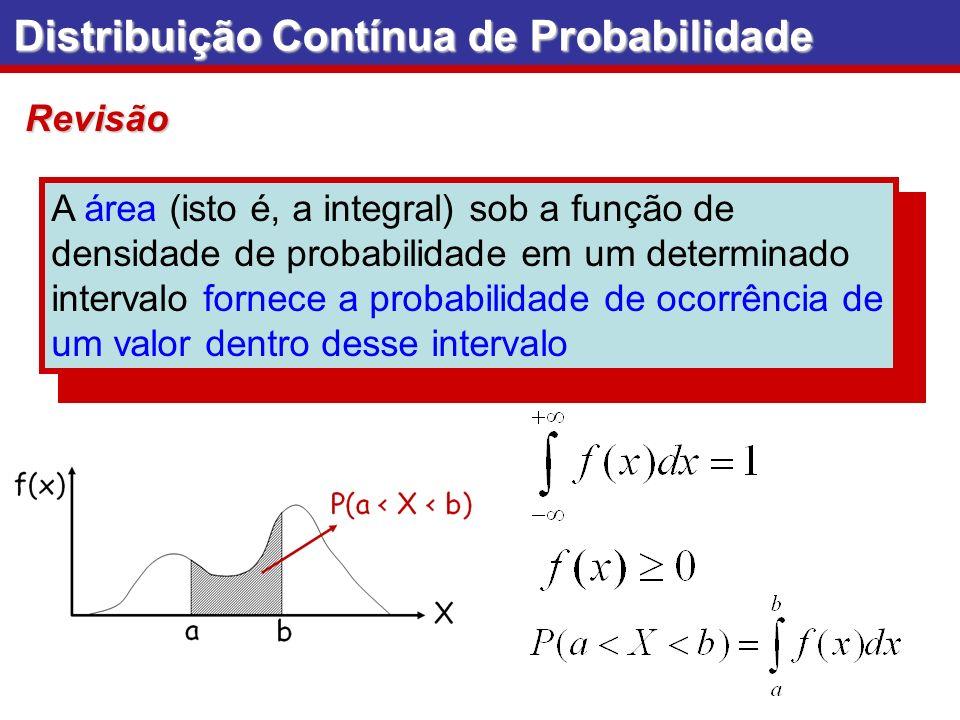 A área (isto é, a integral) sob a função de densidade de probabilidade em um determinado intervalo fornece a probabilidade de ocorrência de um valor d