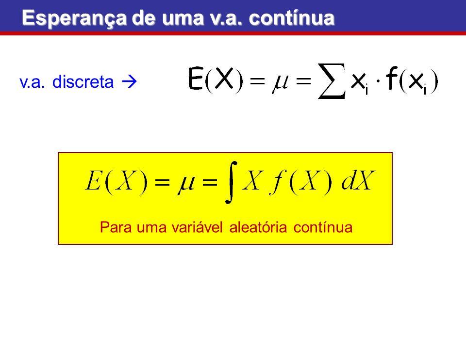 Para uma variável aleatória contínua Esperança de uma v.a. contínua v.a. discreta