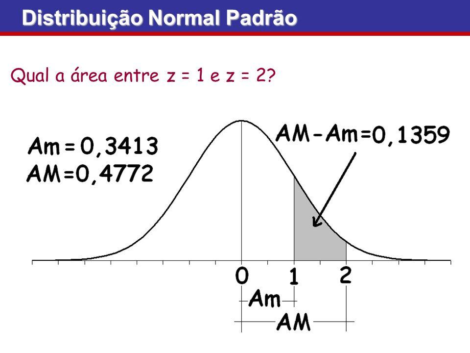 Qual a área entre z = 1 e z = 2? Distribuição Normal Padrão