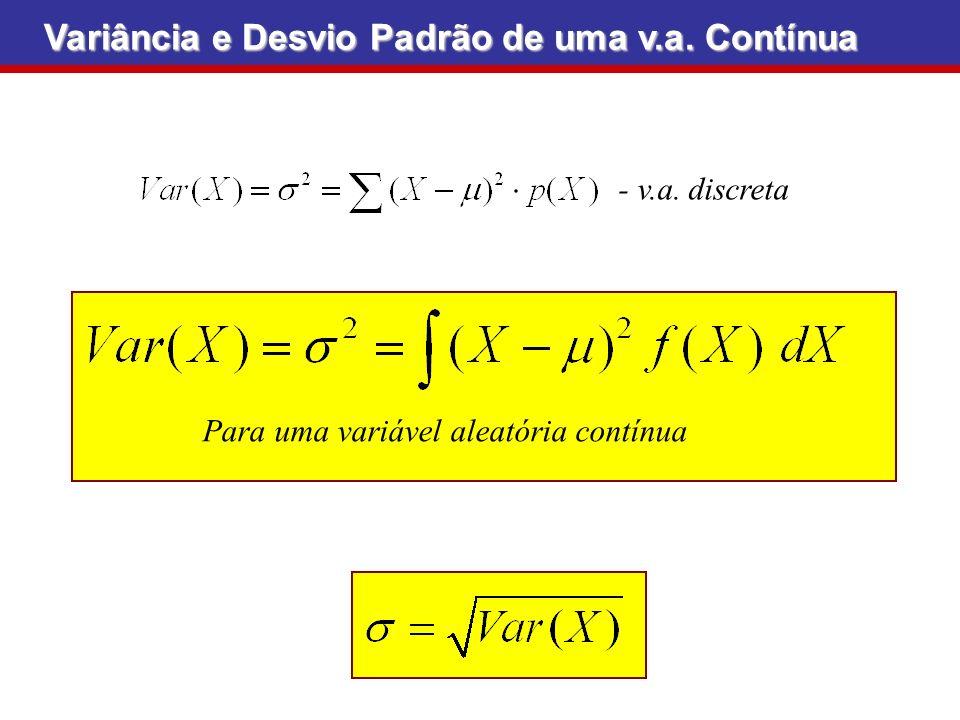 Para uma variável aleatória contínua Variância e Desvio Padrão de uma v.a. Contínua - v.a. discreta