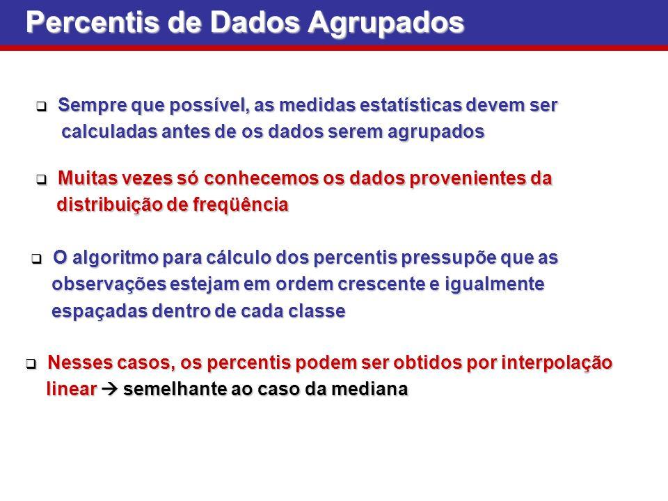 Percentis de Dados Agrupados Sempre que possível, as medidas estatísticas devem ser Sempre que possível, as medidas estatísticas devem ser calculadas