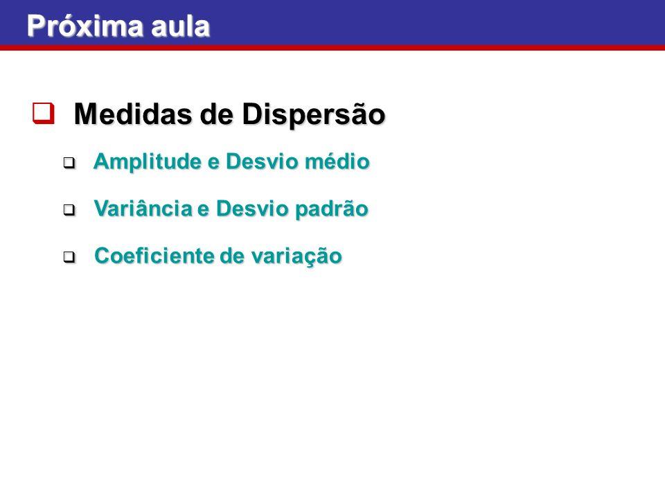 Próxima aula Medidas de Dispersão Amplitude e Desvio médio Amplitude e Desvio médio Variância e Desvio padrão Variância e Desvio padrão Coeficiente de