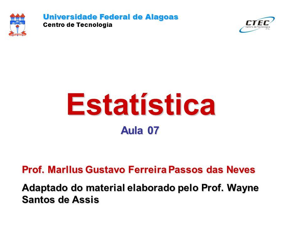 Estatística Aula 07 Universidade Federal de Alagoas Centro de Tecnologia Prof. Marllus Gustavo Ferreira Passos das Neves Adaptado do material elaborad