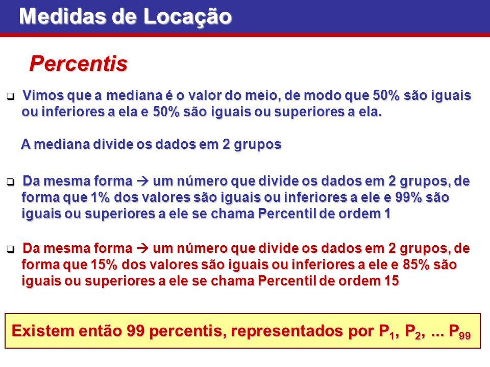 Medidas de Locação Percentis O percentil de ordem 50 é a mediana O percentil de ordem 50 é a mediana Os percentis de ordem 25, 50, 75 são chamados quartis Os percentis de ordem 25, 50, 75 são chamados quartis Os percentis de ordem 10, 20,..., 90 são chamados decis Os percentis de ordem 10, 20,..., 90 são chamados decis