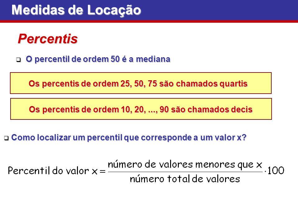 Medidas de Locação Percentis O percentil de ordem 50 é a mediana O percentil de ordem 50 é a mediana Os percentis de ordem 25, 50, 75 são chamados qua
