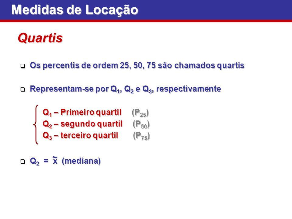 Medidas de Locação Os percentis de ordem 25, 50, 75 são chamados quartis Os percentis de ordem 25, 50, 75 são chamados quartis Representam-se por Q 1,