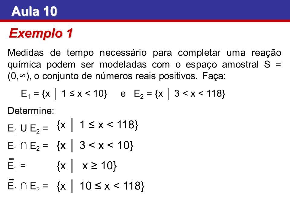 Exemplo 1 Medidas de tempo necessário para completar uma reação química podem ser modeladas com o espaço amostral S = (0,), o conjunto de números reai