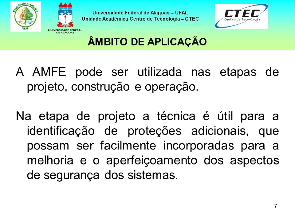 7 Universidade Federal de Alagoas – UFAL Unidade Acadêmica Centro de Tecnologia – CTEC A AMFE pode ser utilizada nas etapas de projeto, construção e o