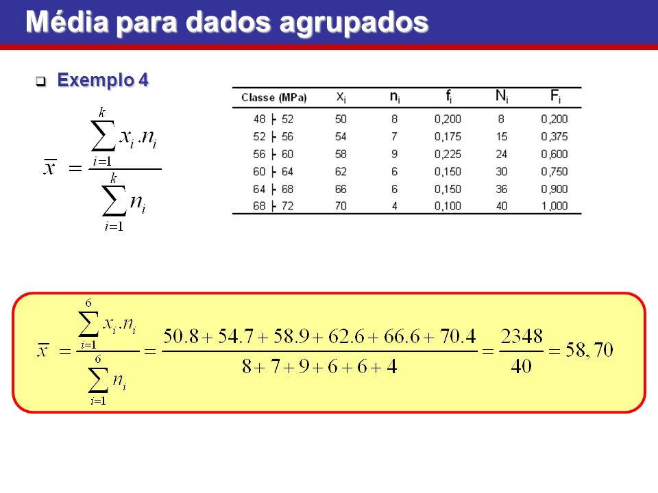Média para dados agrupados Exemplo 4 Exemplo 4