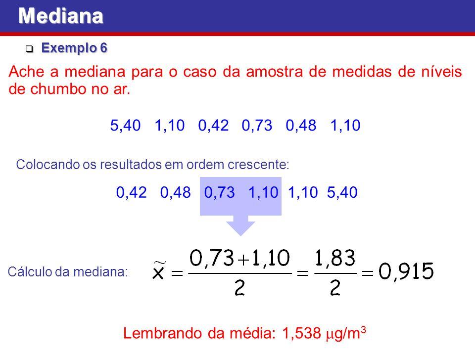 Exemplo 6 Exemplo 6 Ache a mediana para o caso da amostra de medidas de níveis de chumbo no ar.