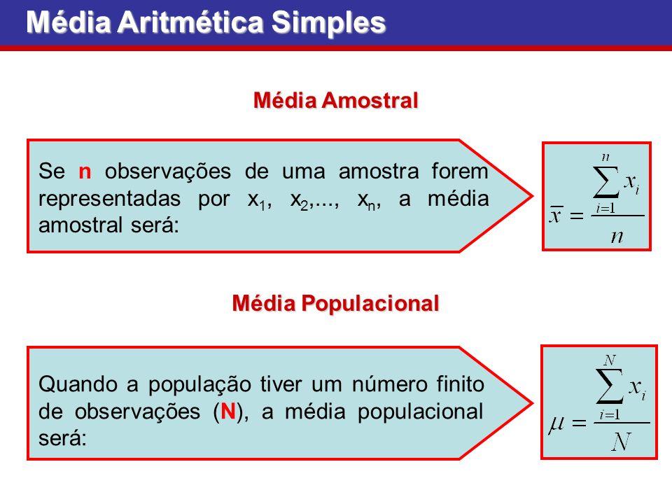 Se n observações de uma amostra forem representadas por x 1, x 2,..., x n, a média amostral será: Quando a população tiver um número finito de observações (N), a média populacional será: Média Amostral Média Populacional Média Aritmética Simples