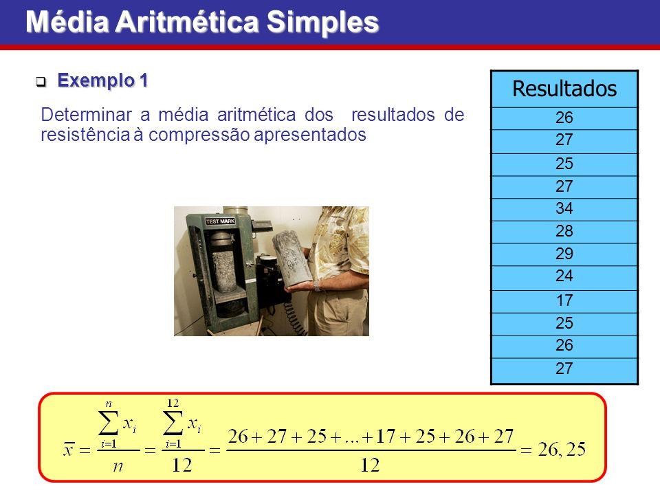 Exemplo 1 Exemplo 1 Resultados 26 27 25 27 34 28 29 24 17 25 26 27 Determinar a média aritmética dos resultados de resistência à compressão apresentados Média Aritmética Simples