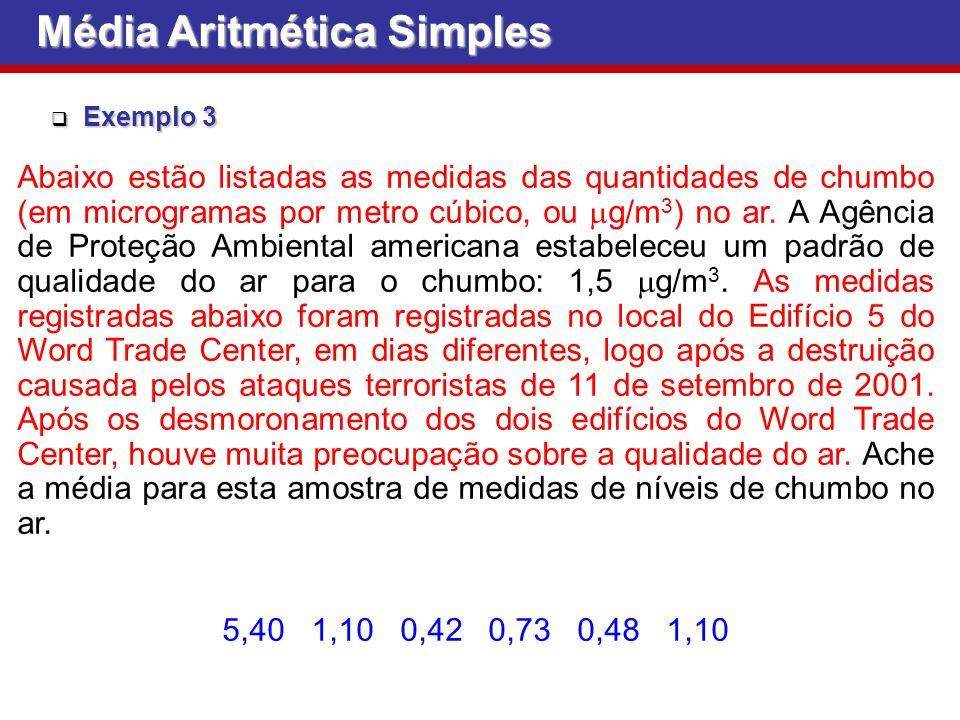 Exemplo 3 Exemplo 3 Abaixo estão listadas as medidas das quantidades de chumbo (em microgramas por metro cúbico, ou g/m 3 ) no ar.