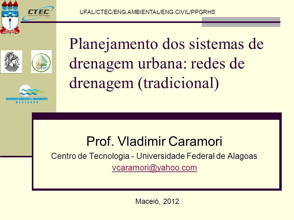UFAL/CTEC/ENG.AMBIENTAL/ENG.CIVIL/PPGRHS Planejamento dos sistemas de drenagem urbana: redes de drenagem (tradicional) Prof. Vladimir Caramori Centro