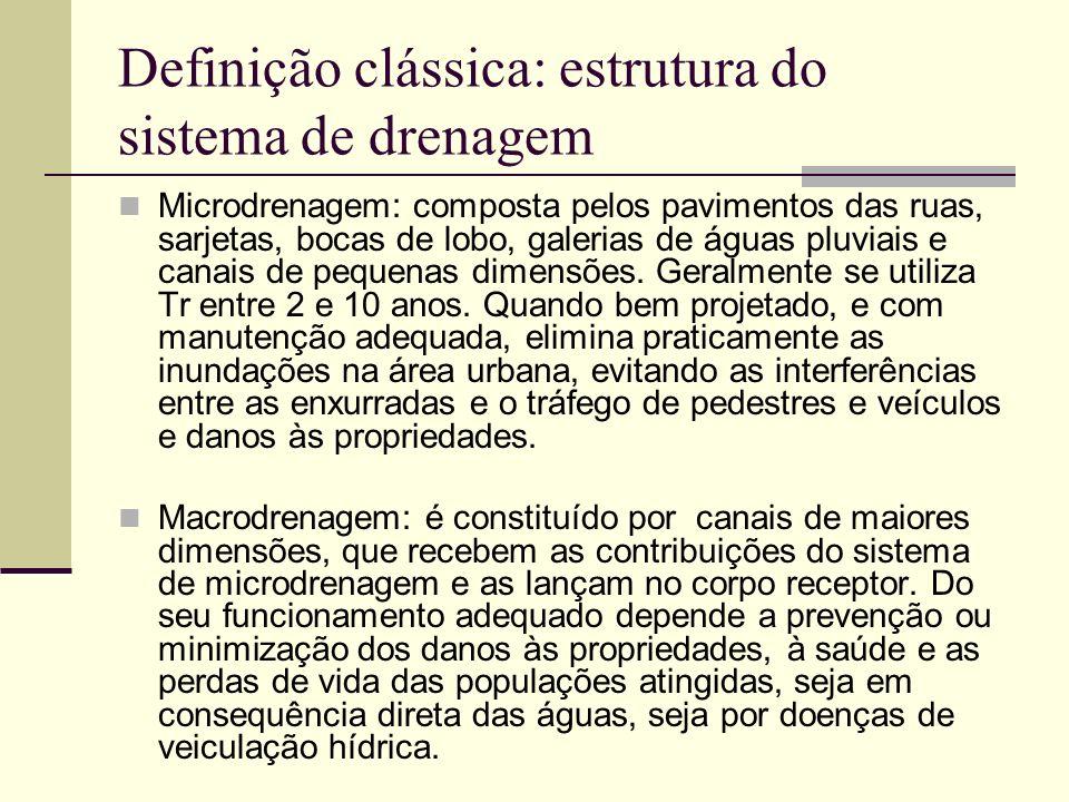 Definição clássica: estrutura do sistema de drenagem Na prática, não é muito nítido o limite entre os dois sistemas, havendo aqueles que consideram como de macrodrenagem os canais que transportam vazões iguais ou superiores a 6.0 m 3 /s.
