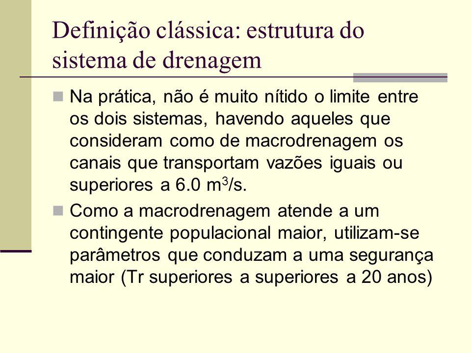 Definição clássica: estrutura do sistema de drenagem Na prática, não é muito nítido o limite entre os dois sistemas, havendo aqueles que consideram co