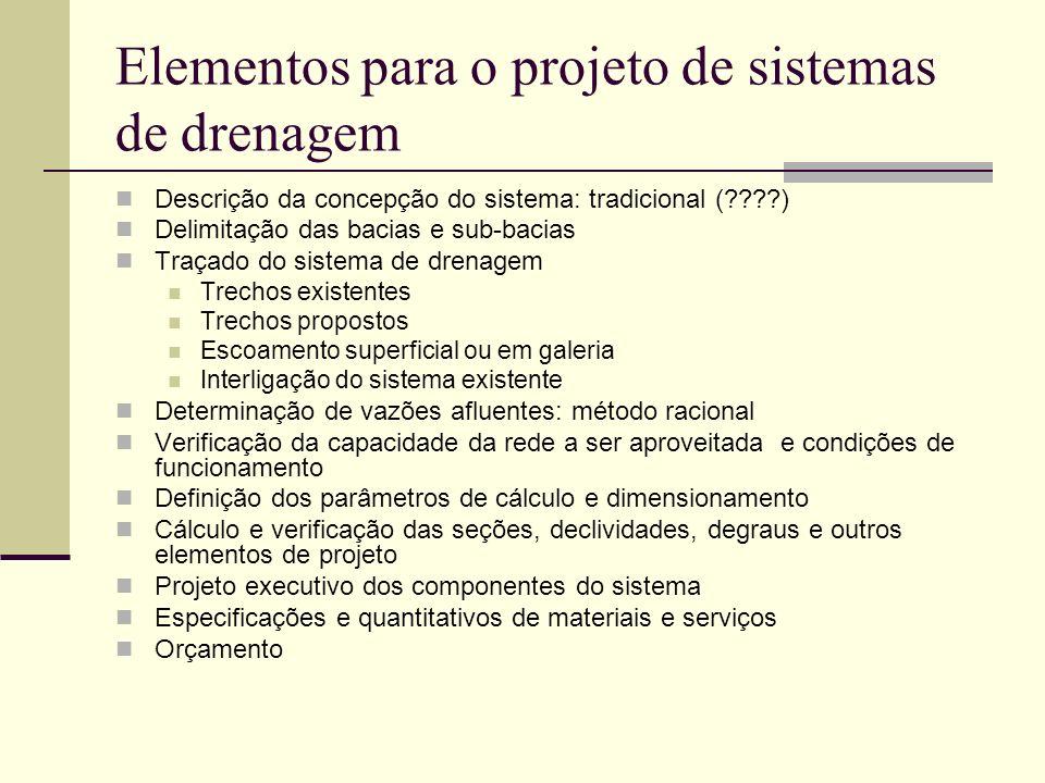 Elementos para o projeto de sistemas de drenagem Descrição da concepção do sistema: tradicional (????) Delimitação das bacias e sub-bacias Traçado do
