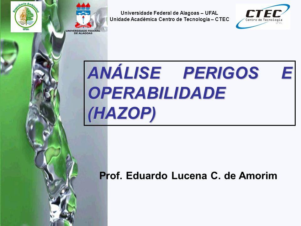 2 Universidade Federal de Alagoas – UFAL Unidade Acadêmica Centro de Tecnologia – CTEC O termo HazOp origina-se do inglês Hazard and Operability Study.