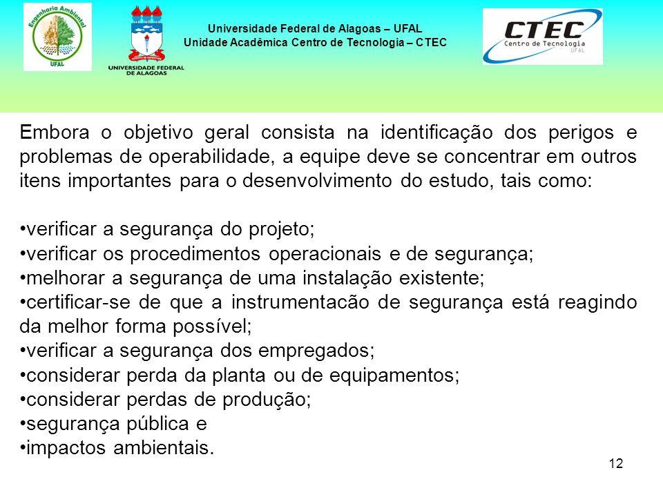 12 Universidade Federal de Alagoas – UFAL Unidade Acadêmica Centro de Tecnologia – CTEC Embora o objetivo geral consista na identificação dos perigos