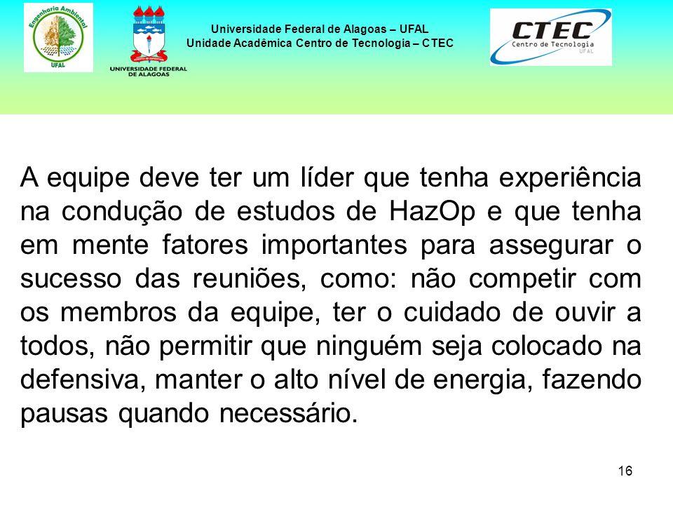 16 Universidade Federal de Alagoas – UFAL Unidade Acadêmica Centro de Tecnologia – CTEC A equipe deve ter um líder que tenha experiência na condução d