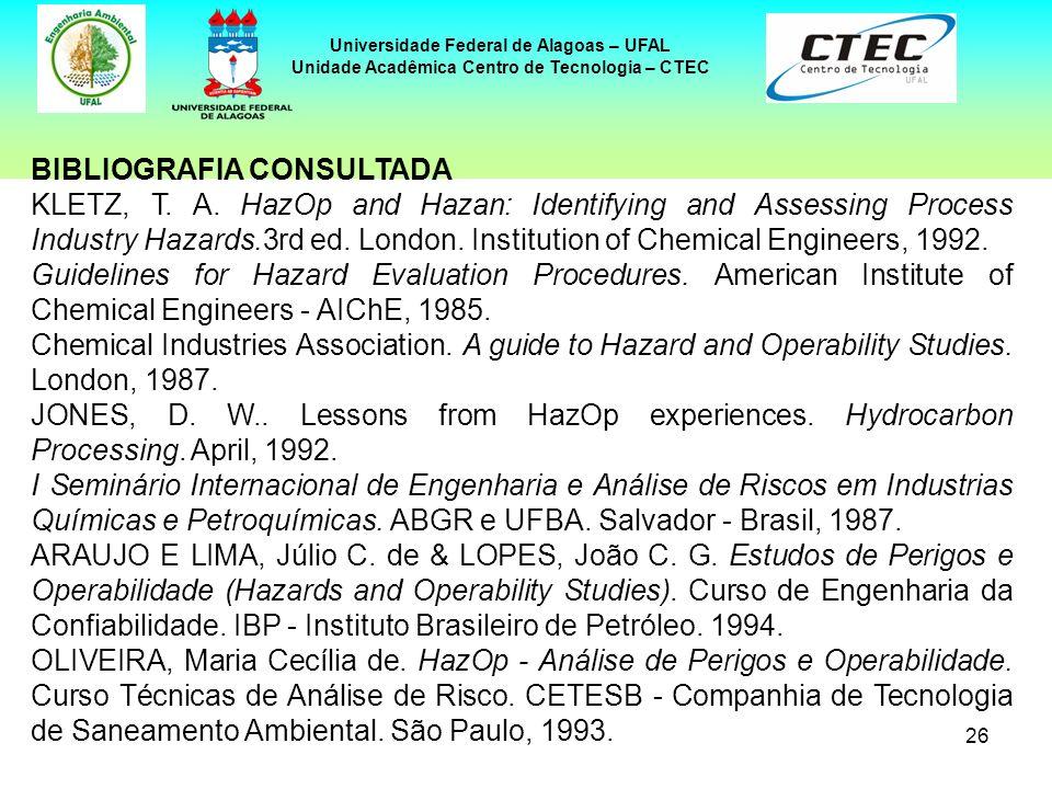 26 Universidade Federal de Alagoas – UFAL Unidade Acadêmica Centro de Tecnologia – CTEC BIBLIOGRAFIA CONSULTADA KLETZ, T. A. HazOp and Hazan: Identify