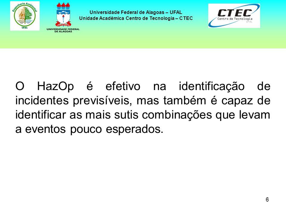 7 Universidade Federal de Alagoas – UFAL Unidade Acadêmica Centro de Tecnologia – CTEC De maneira geral, o HazOp consiste na realização de uma revisão da instalação, identificando perigos potenciais e/ou problemas de operabilidade, por meio de uma série de reuniões, durante as quais uma equipe multidisciplinar discute metodicamente o projeto da planta.