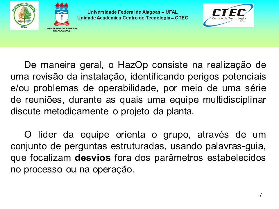 7 Universidade Federal de Alagoas – UFAL Unidade Acadêmica Centro de Tecnologia – CTEC De maneira geral, o HazOp consiste na realização de uma revisão