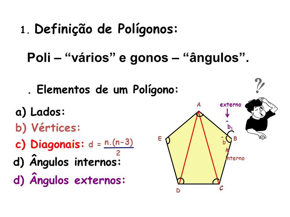 1. Definição de Polígonos: Poli – vários e gonos – ângulos. 2. Elementos de um Polígono: a) Lados: A B C D E b) Vértices: A B C D E c) Diagonais: d) Â