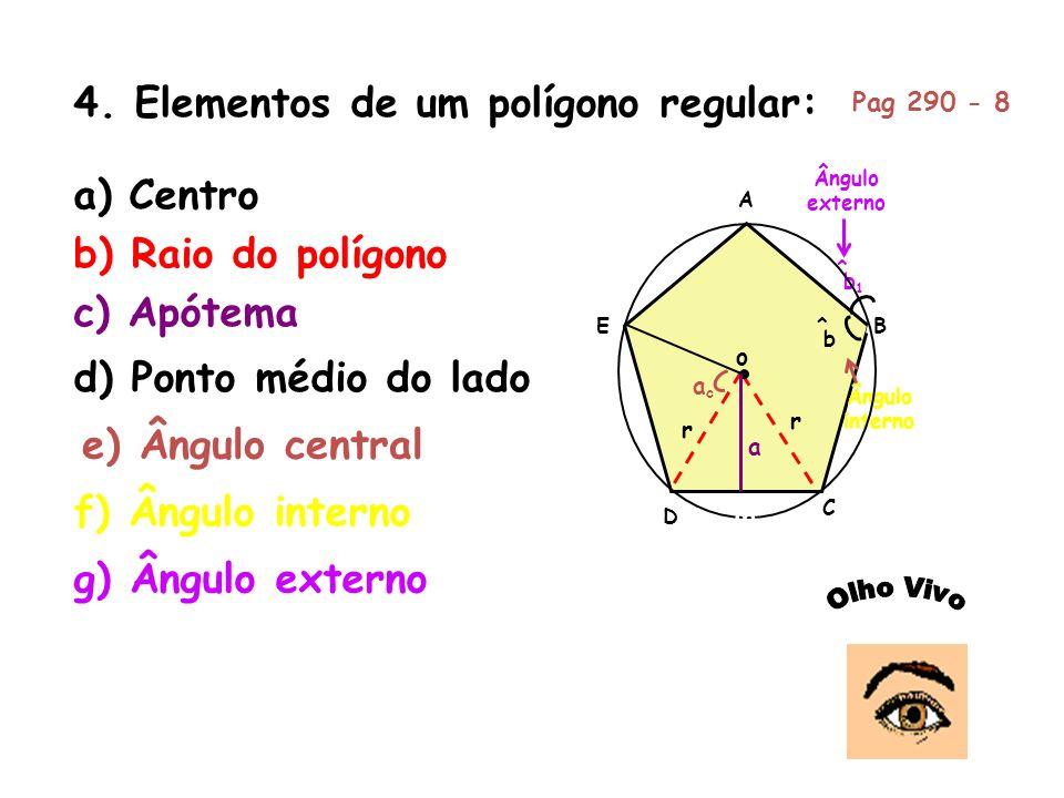 4. Elementos de um polígono regular: A B C D E b ^ b1b1 ^ Ângulo interno Ângulo externo a) Centro o r r b) Raio do polígono c) Apótema a M d) Ponto mé