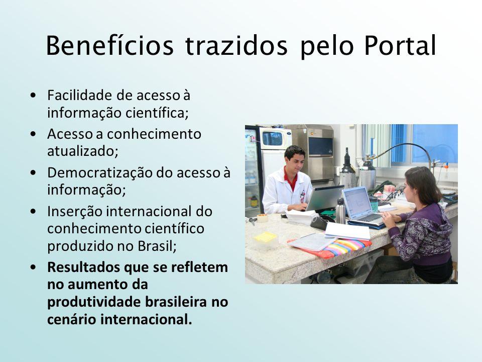 Benefícios trazidos pelo Portal Facilidade de acesso à informação científica; Acesso a conhecimento atualizado; Democratização do acesso à informação; Inserção internacional do conhecimento científico produzido no Brasil; Resultados que se refletem no aumento da produtividade brasileira no cenário internacional.