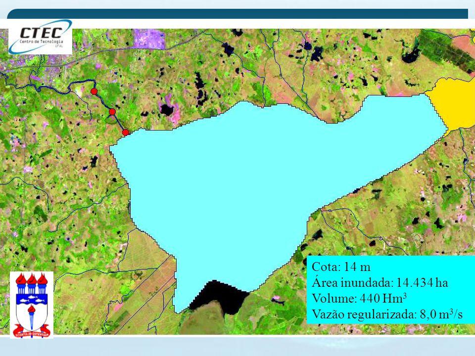 Cota: 14 m Área inundada: 14.434 ha Volume: 440 Hm 3 Vazão regularizada: 8,0 m 3 /s