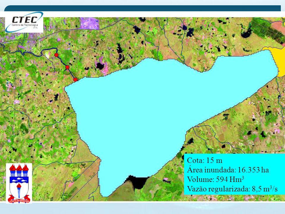 Cota: 15 m Área inundada: 16.353 ha Volume: 594 Hm 3 Vazão regularizada: 8,5 m 3 /s