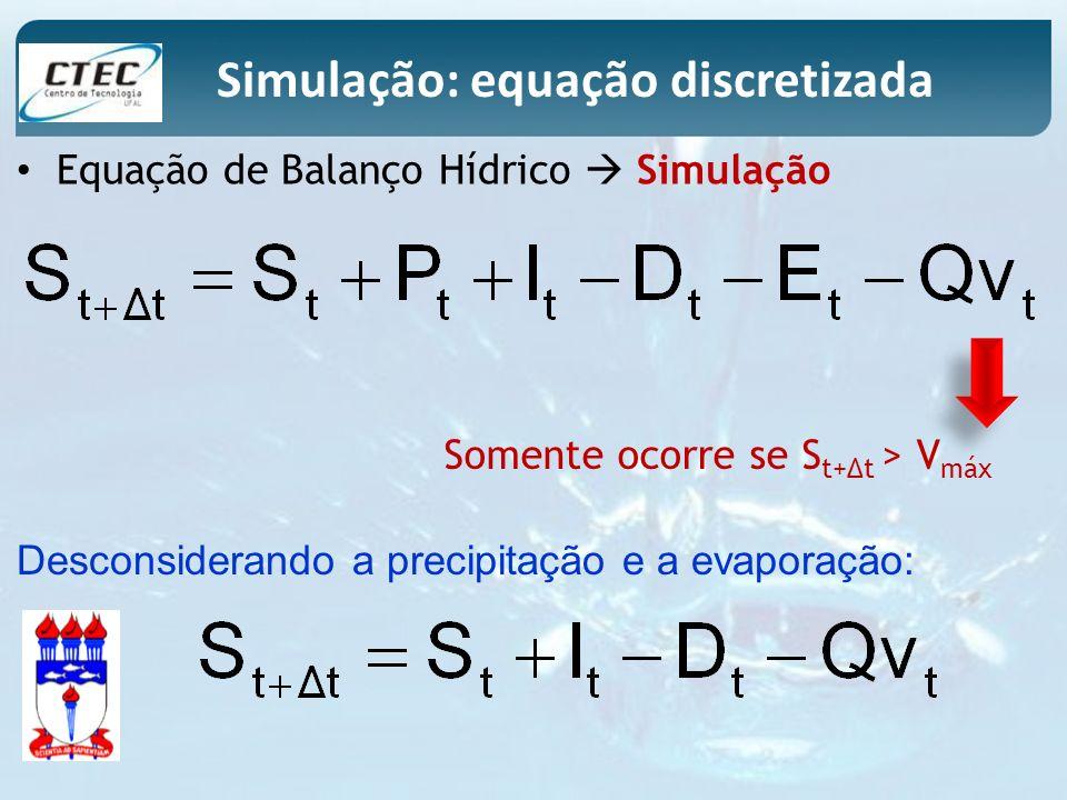Simulação: equação discretizada Somente ocorre se S t+t > V máx Desconsiderando a precipitação e a evaporação: Equação de Balanço Hídrico Simulação