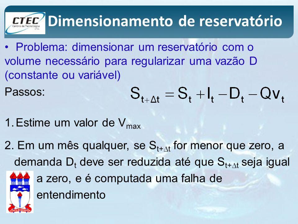 Problema: dimensionar um reservatório com o volume necessário para regularizar uma vazão D (constante ou variável) Passos: 1.Estime um valor de V max