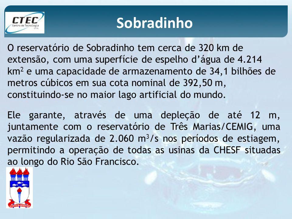 O reservatório de Sobradinho tem cerca de 320 km de extensão, com uma superfície de espelho dágua de 4.214 km 2 e uma capacidade de armazenamento de 3