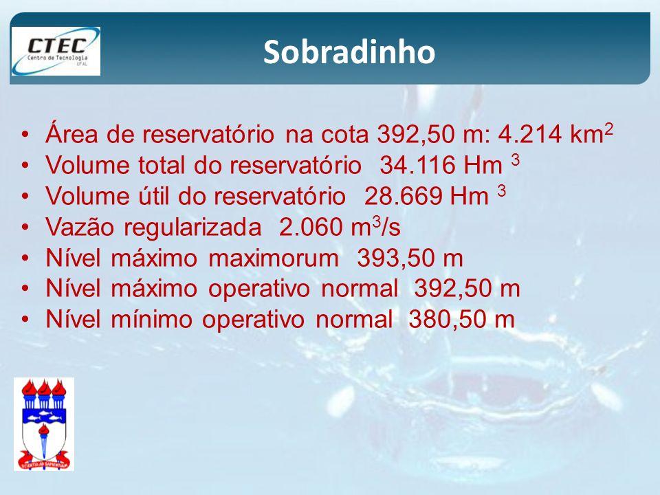 Área de reservatório na cota 392,50 m: 4.214 km 2 Volume total do reservatório 34.116 Hm 3 Volume útil do reservatório 28.669 Hm 3 Vazão regularizada