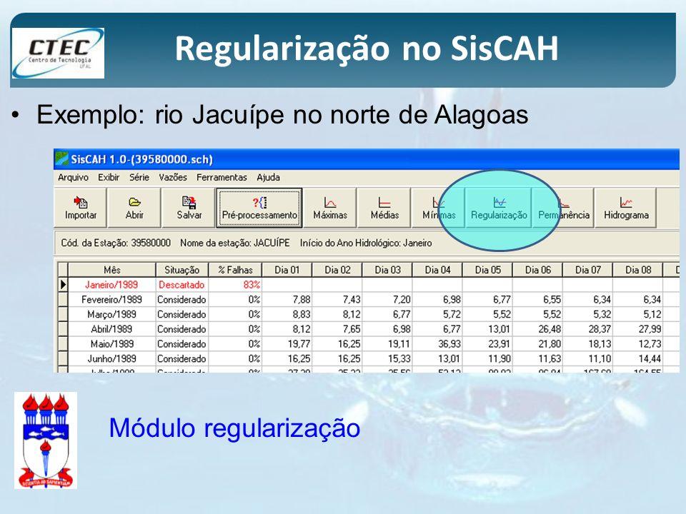 Regularização no SisCAH Exemplo: rio Jacuípe no norte de Alagoas Módulo regularização