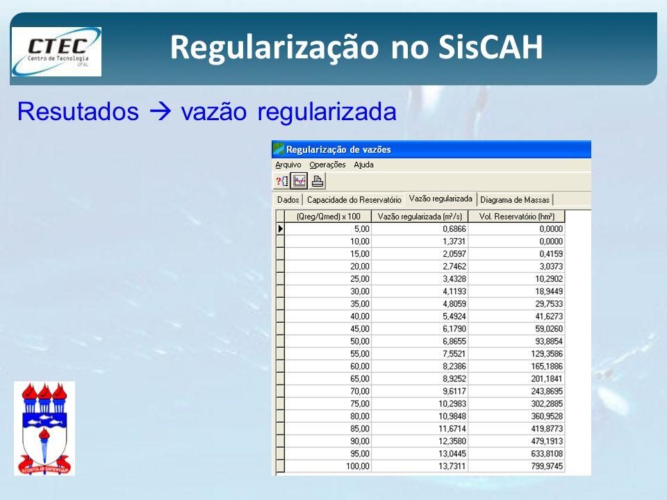 Regularização no SisCAH Resutados vazão regularizada