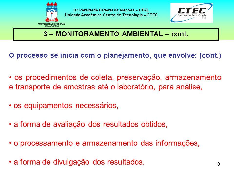 10 Universidade Federal de Alagoas – UFAL Unidade Acadêmica Centro de Tecnologia – CTEC os procedimentos de coleta, preservação, armazenamento e trans