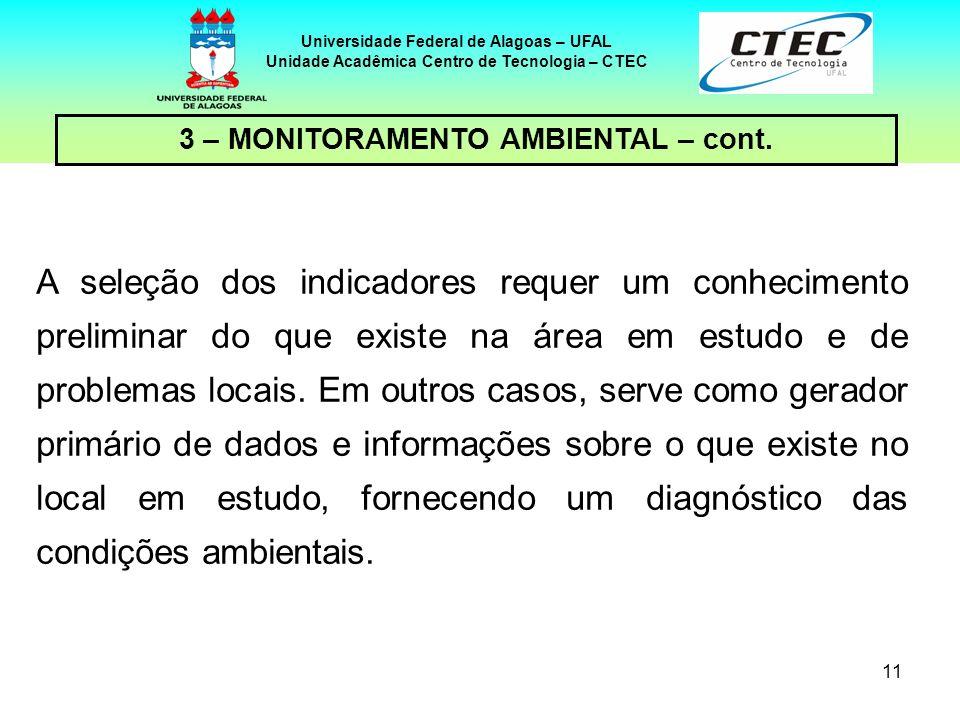 11 Universidade Federal de Alagoas – UFAL Unidade Acadêmica Centro de Tecnologia – CTEC A seleção dos indicadores requer um conhecimento preliminar do