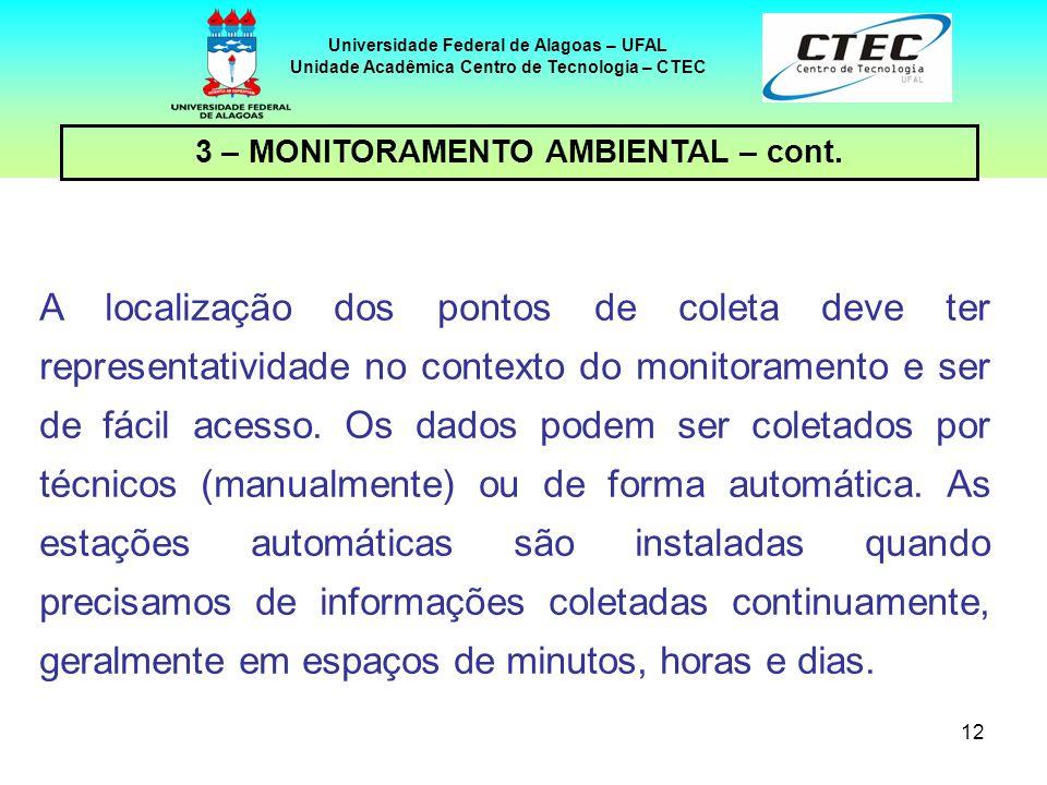 12 Universidade Federal de Alagoas – UFAL Unidade Acadêmica Centro de Tecnologia – CTEC A localização dos pontos de coleta deve ter representatividade