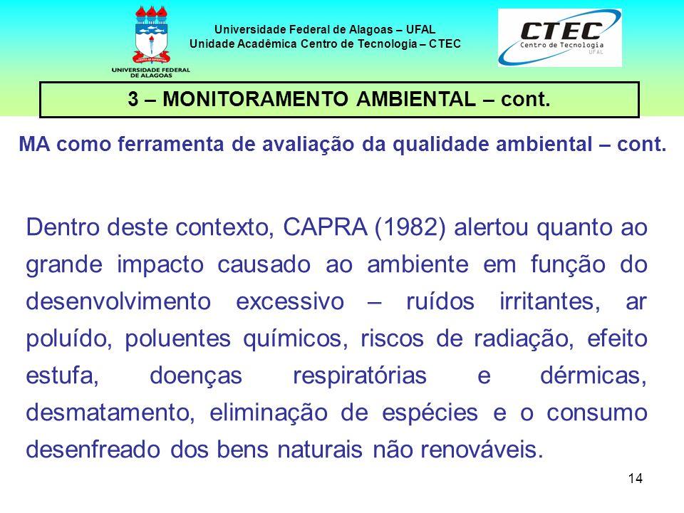 14 Universidade Federal de Alagoas – UFAL Unidade Acadêmica Centro de Tecnologia – CTEC Dentro deste contexto, CAPRA (1982) alertou quanto ao grande i